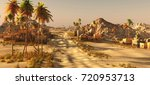 arabic small town on wasteland  ... | Shutterstock . vector #720953713