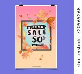 vector autumn sale poster... | Shutterstock .eps vector #720969268