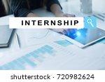 internship text on virtual... | Shutterstock . vector #720982624