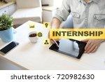 internship text on virtual... | Shutterstock . vector #720982630