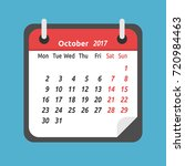 monthly calendar for october... | Shutterstock .eps vector #720984463