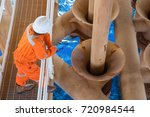 offshore oil rig worker...   Shutterstock . vector #720984544