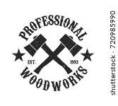 vintage woodwork logo   two...   Shutterstock .eps vector #720985990