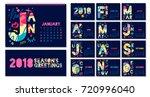 2018 wall monthly calendar... | Shutterstock .eps vector #720996040