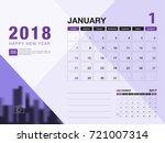 desk calendar 2018 template.... | Shutterstock .eps vector #721007314