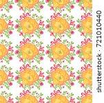 watercolor orange flowers... | Shutterstock . vector #721010440