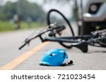 Small photo of Accident car crash with bicycle on road