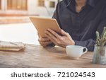 close up businessman using... | Shutterstock . vector #721024543