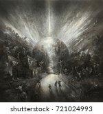 heavily distorted landscape...   Shutterstock . vector #721024993