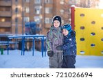 two little kid boys in colorful ... | Shutterstock . vector #721026694