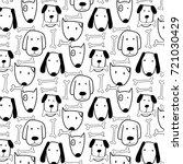 hand drawn cute dog and bone... | Shutterstock .eps vector #721030429
