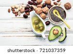 selection food sources of omega ... | Shutterstock . vector #721037359
