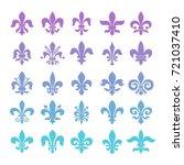 fleur de lis symbols set.... | Shutterstock .eps vector #721037410