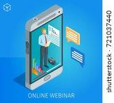 webinar online banner. man on... | Shutterstock .eps vector #721037440