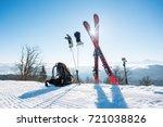 shot of skiing equipment   skis ... | Shutterstock . vector #721038826