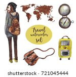 watercolor travel set on white... | Shutterstock . vector #721045444