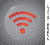 wi fi icona glass circle. wi fi.... | Shutterstock .eps vector #721046194