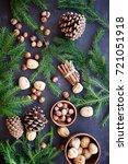 christmas stuff on wooden table....   Shutterstock . vector #721051918