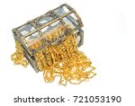 gold jewelry in jewel chest on... | Shutterstock . vector #721053190