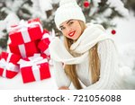 beautiful woman with christmas... | Shutterstock . vector #721056088