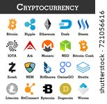 set of cryptocurrency icon .... | Shutterstock .eps vector #721056616