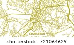 Detailed vector map of Charleroi in gold with title, scale 1:30 000, Belgium