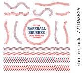 baseball laces set. baseball... | Shutterstock .eps vector #721068829