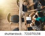multiracial group of young... | Shutterstock . vector #721070158