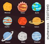 planets of solar system color... | Shutterstock .eps vector #721073440