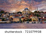 golden horn and the skyline of... | Shutterstock . vector #721079938