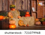 Wooden Interior With Pumkins ...
