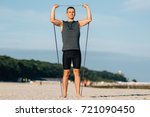 handsome young man training... | Shutterstock . vector #721090450