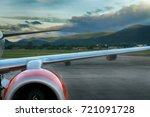 view of airplane wing with... | Shutterstock . vector #721091728