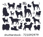 Stock vector vector dog silhouettes different breeds isolated sketch collection black dog icons vector 721092979