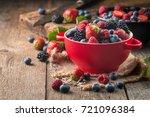 ripe sweet different berries in ... | Shutterstock . vector #721096384