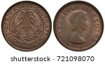 Small photo of British South Africa 1/4 quarter penny (farthing) 1955, oat sprig and berries between two birds, Queen Elizabeth II bust right