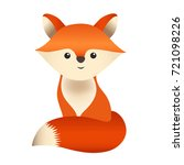 little red fox cub  sitting and ... | Shutterstock .eps vector #721098226