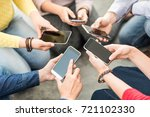 group of young hipsters holding ... | Shutterstock . vector #721102330