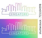 singapore skyline. colorful...   Shutterstock .eps vector #721104598