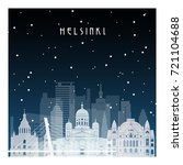 winter night in helsinki. night ... | Shutterstock .eps vector #721104688