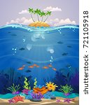beautiful marine life with... | Shutterstock .eps vector #721105918
