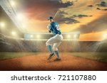 baseball players in action on... | Shutterstock . vector #721107880