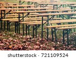 empty benches in the fall  ... | Shutterstock . vector #721109524