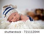 little newborn baby boy ... | Shutterstock . vector #721112044