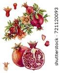 pomegranate.  watercolor... | Shutterstock . vector #721120093