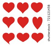 set of red hearts on white... | Shutterstock .eps vector #721121458