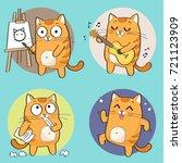 Stock vector cartoon cat character creative hobbies set vector illustration 721123909
