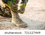27rangers boots and hands tying ... | Shutterstock . vector #721127449