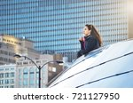 female tourist looking at... | Shutterstock . vector #721127950