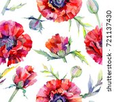 wildflower poppy flower pattern ... | Shutterstock . vector #721137430
